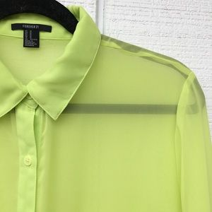 Forever21 Lime Green Button-Up Blouse